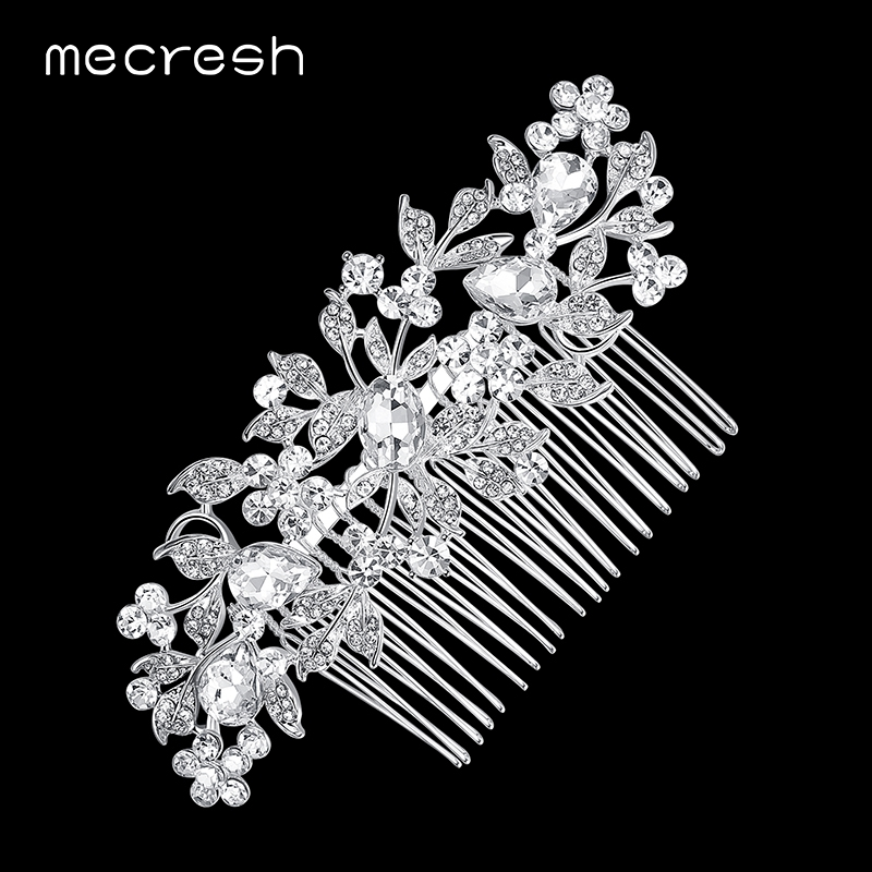 Mecresh Elegant Crystal Wedding Hair Jewelry Accessories for Women 2017 Fashion Silver Color Rhinestone Bridal Hair Combs FS007