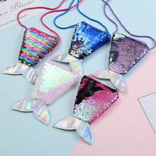 Mermaid Rainbow Pack Creative Children Sequins Coin Purse Crossbody Shoulder Fishtail Wallet Girlphone Headphones Data Cable Bag(China)