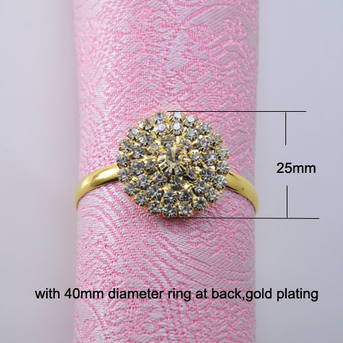 J0270 ring 25mm stunning rhinestone napkin ring for wedding table decoration gold plating ring size