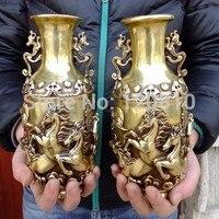 8 Koni brąz miedź feng shui ozdoby jedna para gospodarstwa domowego dekoracyjne Wazon wazon Dekoracje Ogrodowe Brązu Mosiądzu w Posągi i rzeźby od Dom i ogród na