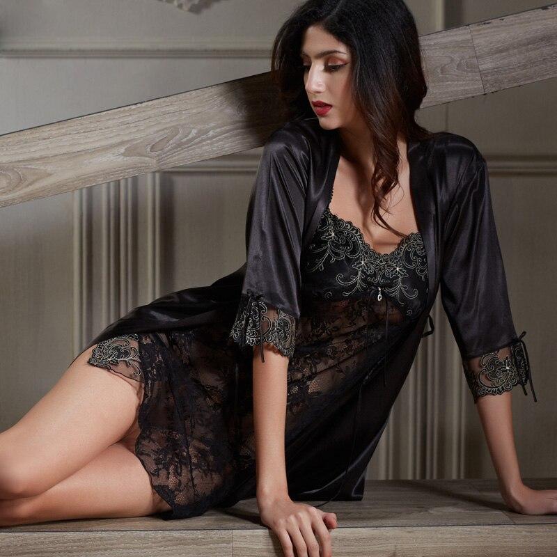 Xifenni Robe Sets Weibliche Weichheit Satin Seide Nachtwäsche Frauen Pijama Sexy Schwarz Spitze Zwei-stück V-ausschnitt Bademäntel Set Neue 6628 Senility VerzöGern Damen-nachtwäsche Nachthemd & Bademantel-sets