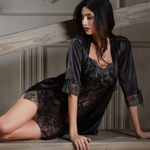 Xifenni Robe סטי נקבה רכות סאטן משי הלבשת נשים פיג מה סקסי שחור תחרה שתי חתיכה V צוואר חלוקי רחצה סט חדש 6628