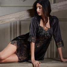 Xifenni elbise setleri kadın yumuşaklık saten ipek Pijama kadın Pijama seksi siyah dantel iki parçalı v yaka bornoz seti yeni 6628