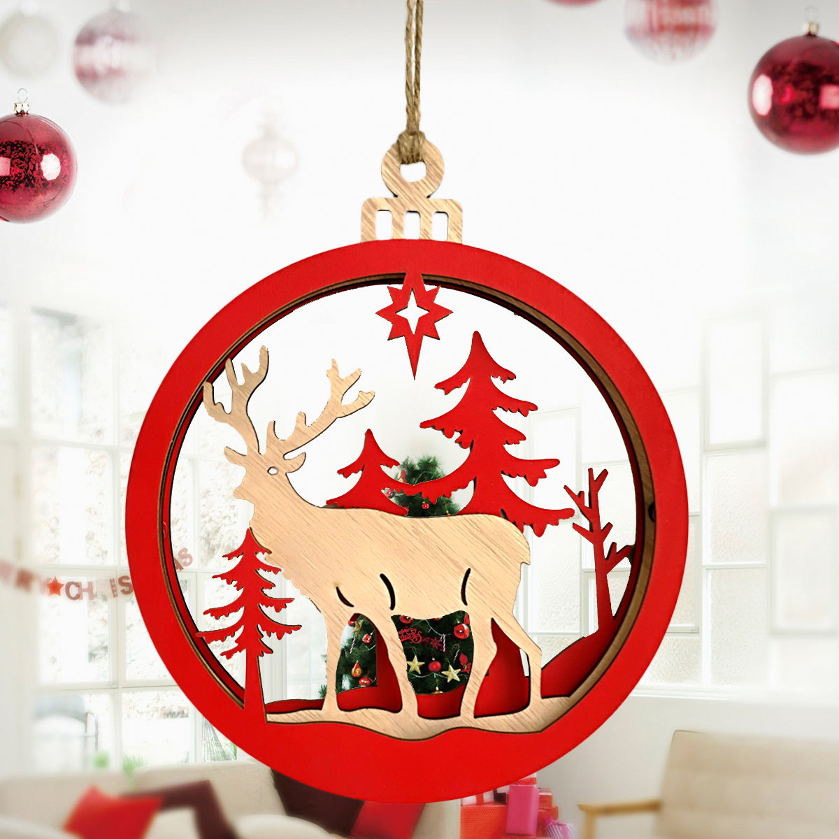 large wooden 3d pendant durable couples reindeer light bulb hanging decor supplies for christmas decorating wall fireplace in pendant drop ornaments from