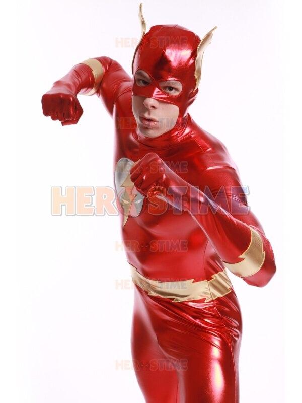 Le Flash super héros Costume brillant métallique halloween cosplay enfant Flash costume le plus populaire Costume zentai livraison gratuite - 3