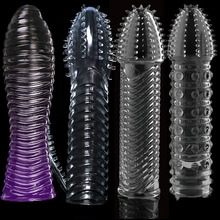 Reusable Delay Condoms vibrator Sleeve cock Ring dotted Cover Penis erection Impotence Extensions dildo GSpot porn Sex toys Men