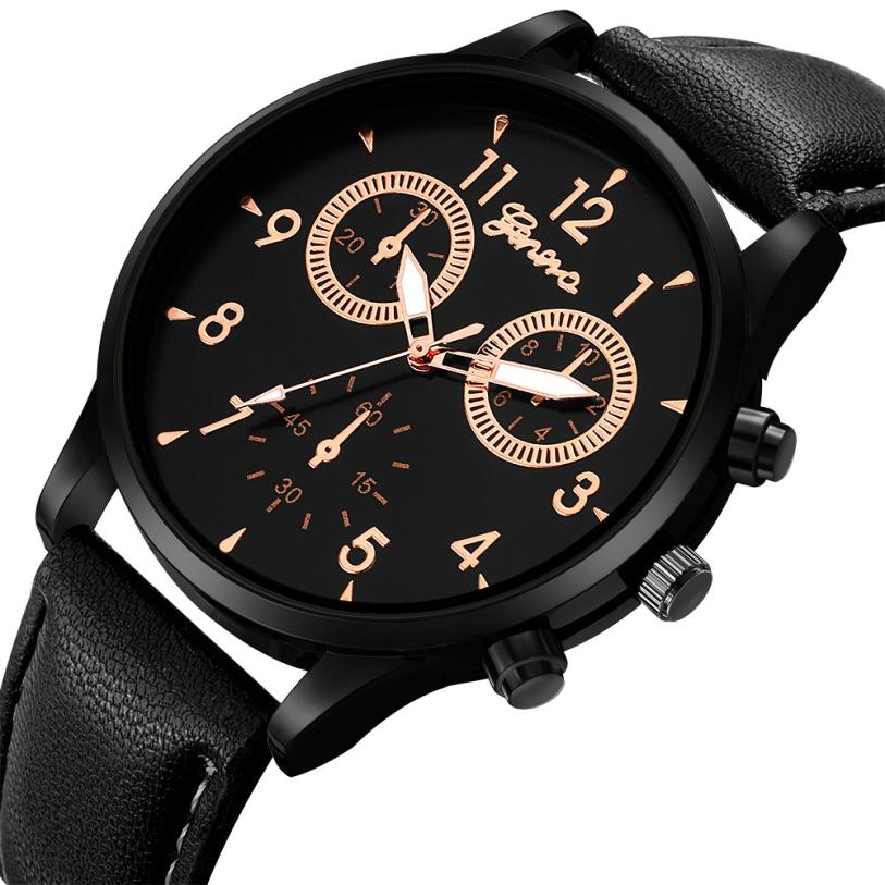 New Design Luxury Brand Watch Men Leather Band Waterproof Quartz Watch Casual Sports Military Wristwatch relojes para hombre #D