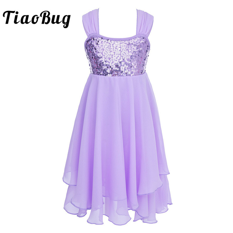 <font><b>TiaoBug</b></font> Kid Teens Chiffon Sequins Adjustable Strap Ballet Tutu Dance Leotard Dress Ballerina Cute Girls Gymnastics Leotard Dress image