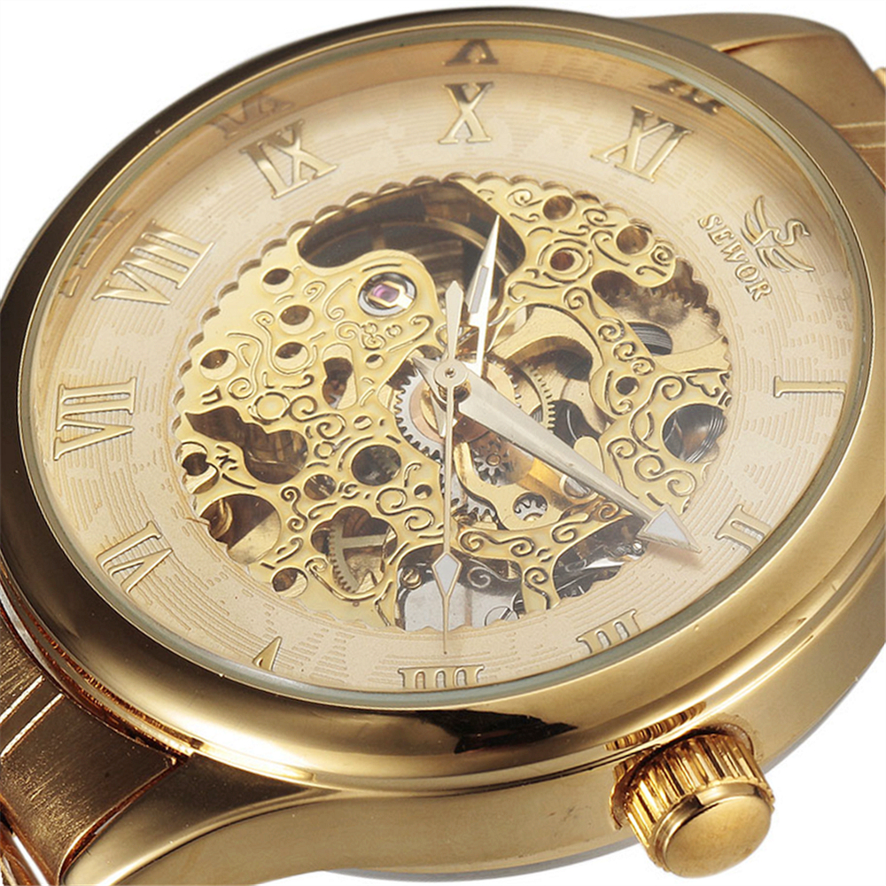 SEWOR New Luxury Golden Mechanical Automatic Wrist Watch Men Roman Dial Clock Stainless Steel Band Mens Skeleton Watches Gift 2017 hot sale luxury luminous automatic mechanical skeleton dial stainless steel band wrist watch men women christmas gift