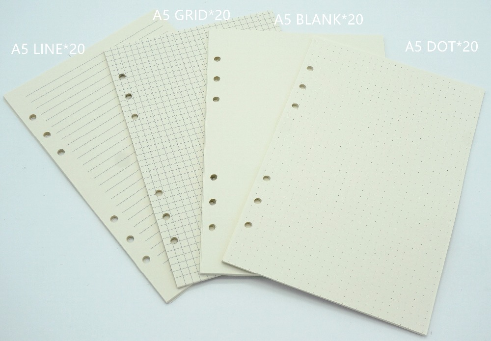 Notebook A6 A5 Refill 80 sheets  Inner paper pages Normal Paper Line Grid Blank Dot included ножницы 5 5 6 jp440c normal