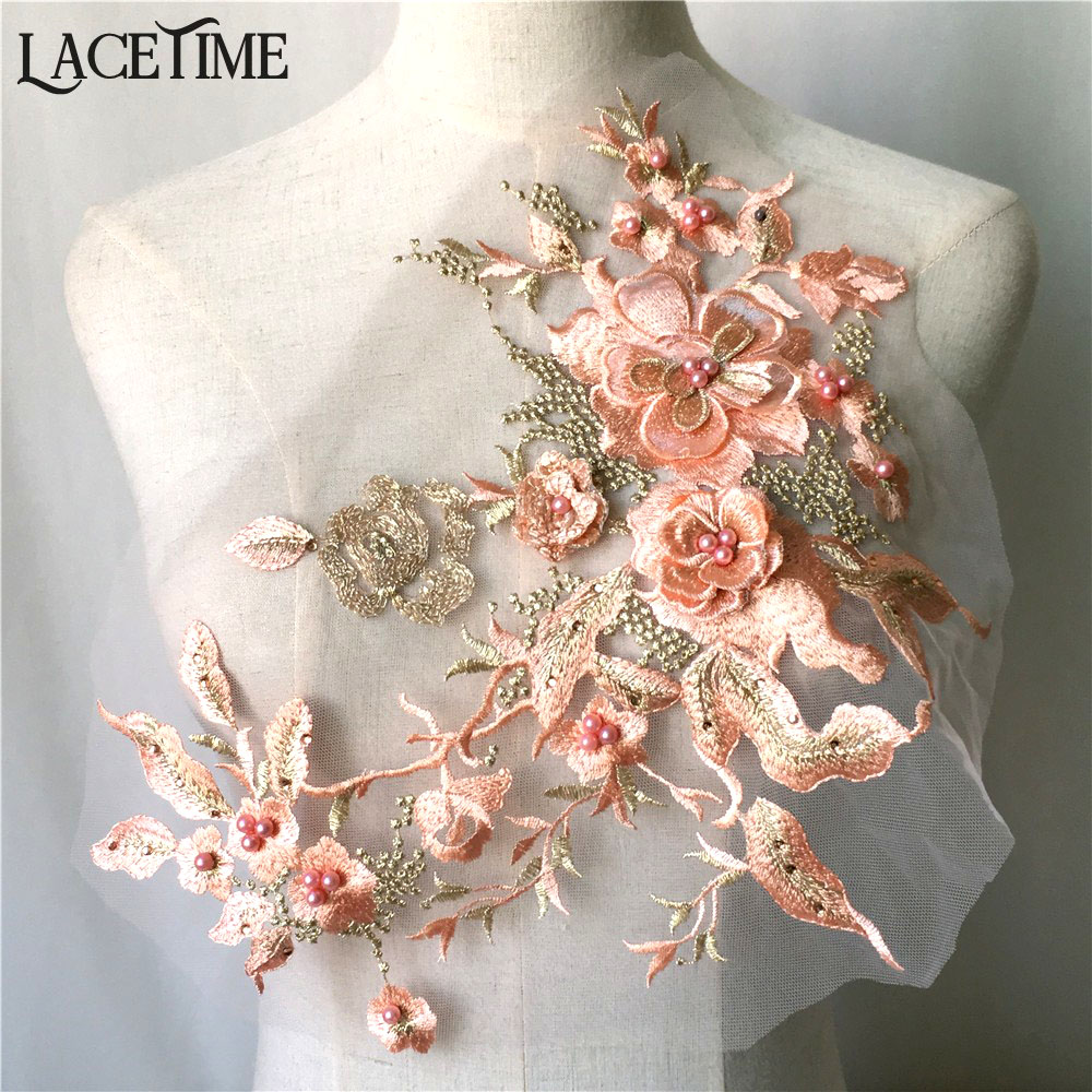 US $4.5 10% OFF|1 Piece Exquisite Fashion 3D Flower Mesh Lace Applique Embroidery Pearl Beaded Sewing Trim DIY Dress Supplies Craft in Lace from Home
