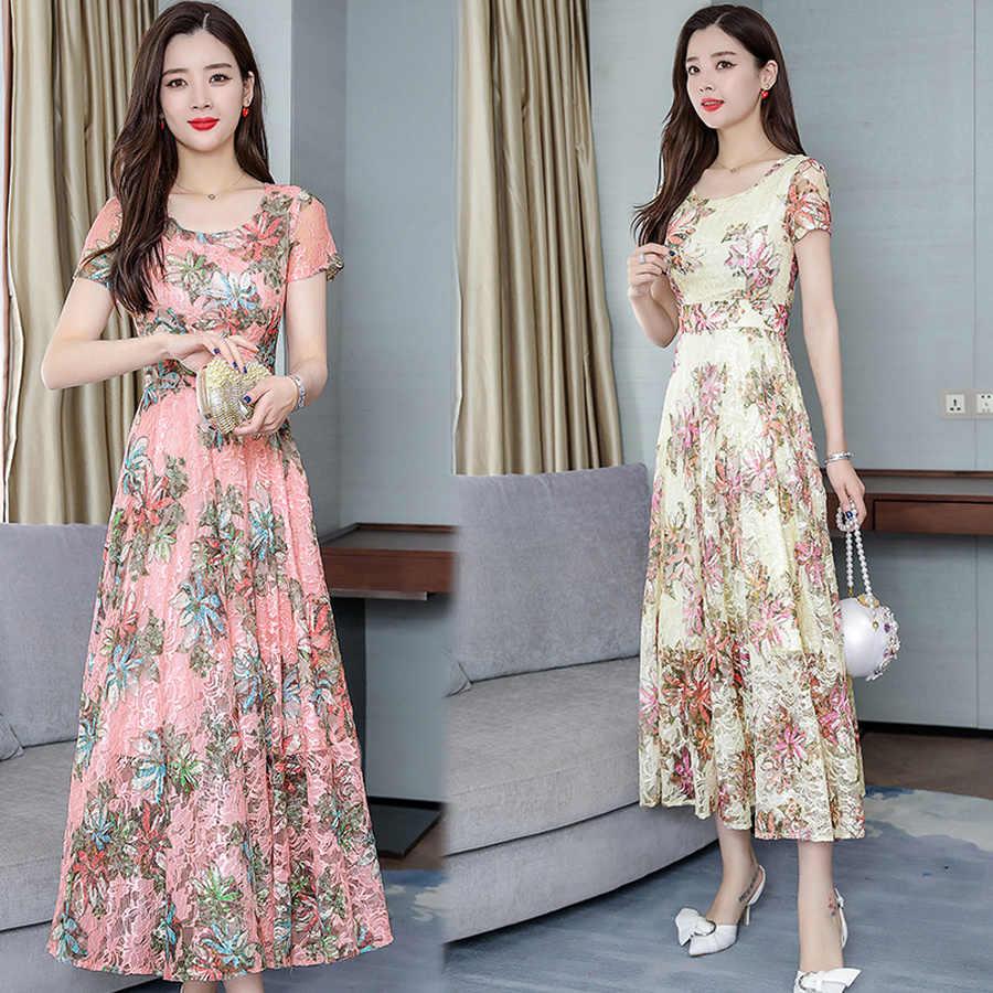 2019 элегантное женское шифоновое богемное Платье макси с цветочным принтом летнее винтажное 3XL плюс размер пляжное платье миди Bodycon Вечерние платья