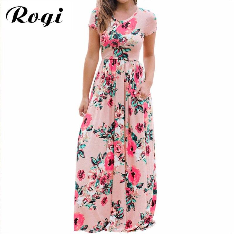 3d767661fba Rogi Summer Long Maxi Dress Vintage Floral Print Tunic Dresses For Women  Short Sleeve Beach Female Dresses Vestidos Largos Mujer-in Dresses from  Women s ...