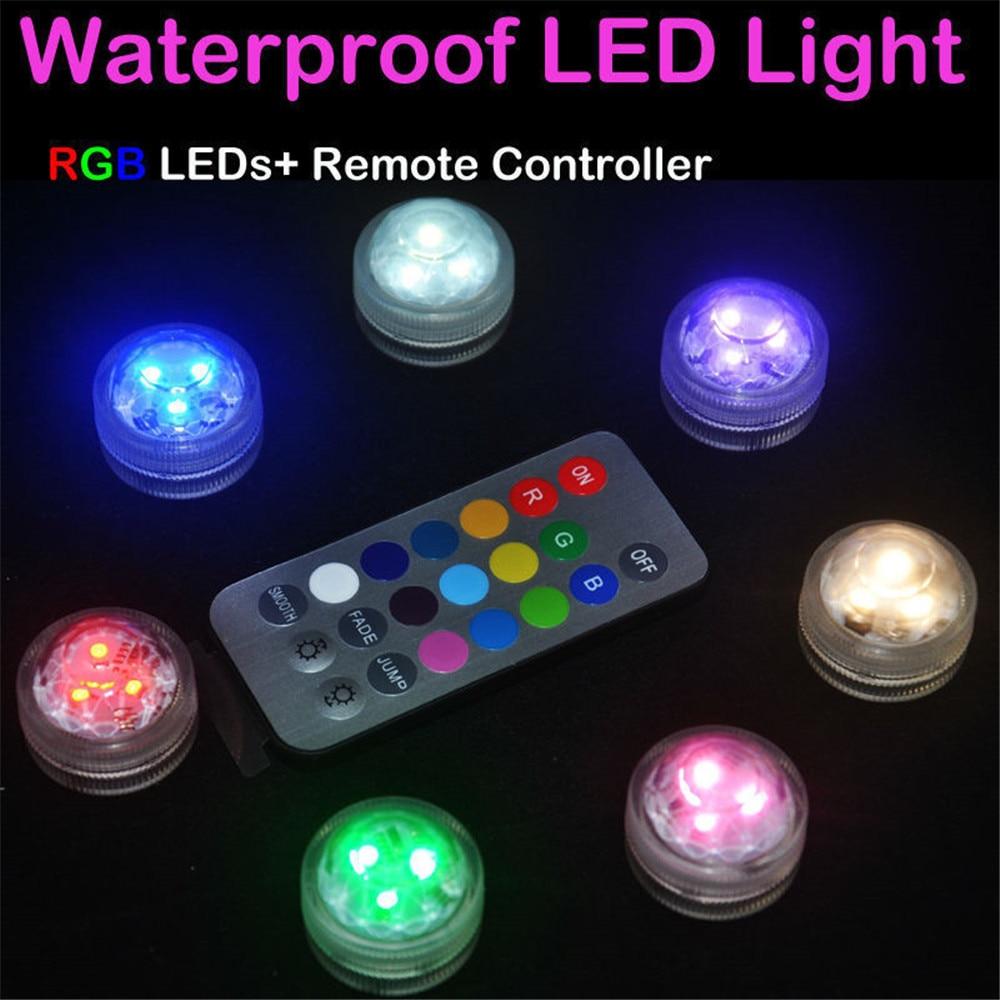 12 pcs / Lot Remote Controller & Colorful Submersible Waterproof Pernikahan Floral Tea Vas Cahaya Lampu Lilin dengan Baterai