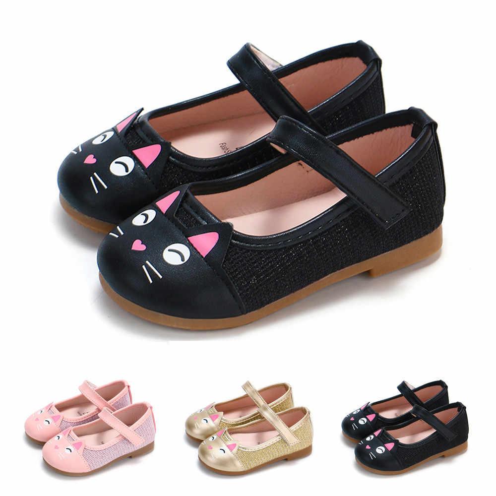 รองเท้าเด็กผู้หญิงรองเท้าเด็กวัยหัดเดินรองเท้า Casual แฟชั่น Pu รองเท้าแบนการ์ตูนแมวเด็ก Loafers Chaussure เย็ดผู้หญิง