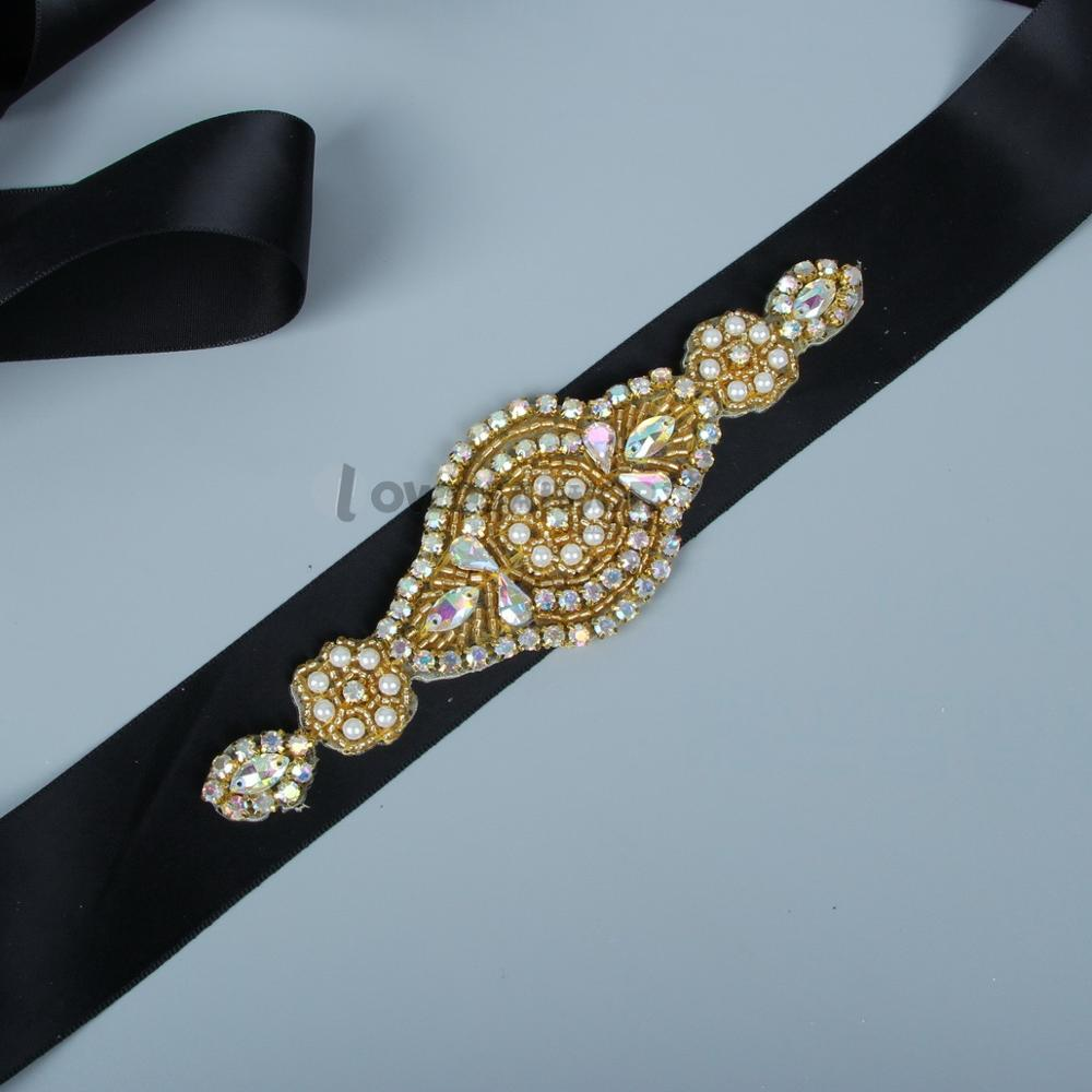 Hot Glass Crystal Bridal Belt Handmade Rhinestone Gold Stones Wedding Dress Bridal Sashes Wedding Accessories