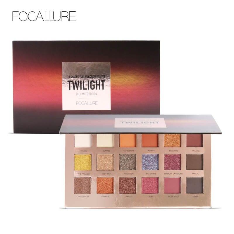 FOCALLURE 18 colores brillo sombra de ojos Shimmer pigmento paleta de cosméticos brillo sombra de ojos maquillaje belleza