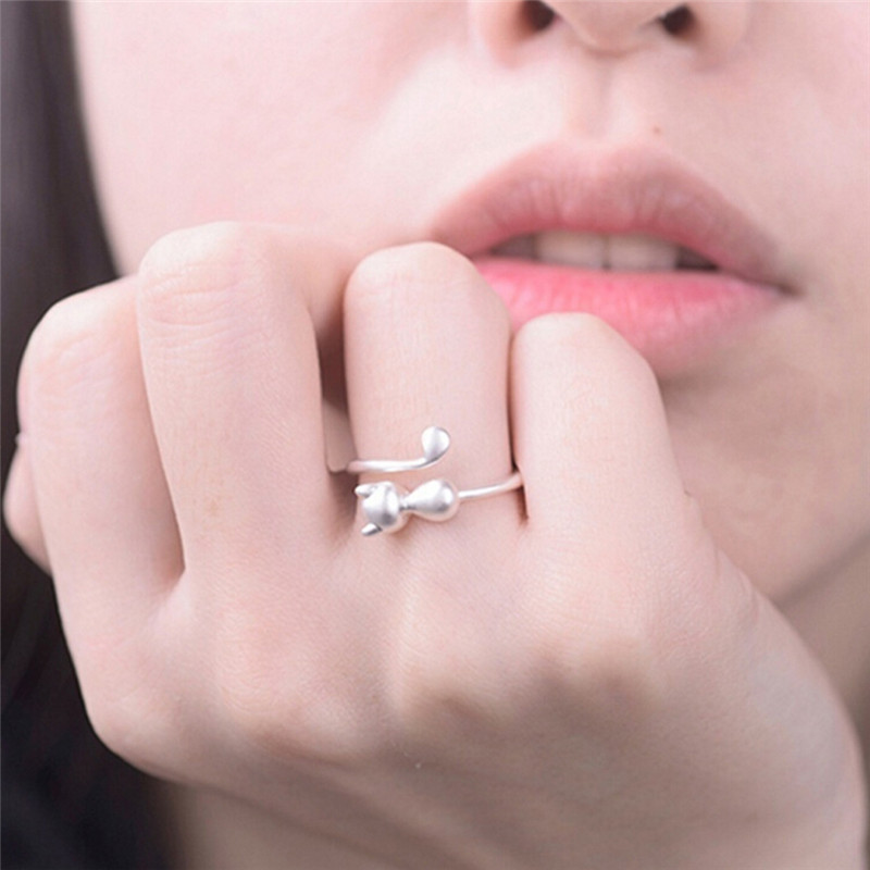 1 Pcs Silver Plated Cat Rings For Women And Men Jewelry Beautiful Finger Open Rings For Party Birthday Gift