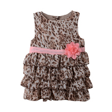 Retail sell like hot cakes Fashion Flower girl leopard-print dress for girls 0 to 24 months baby girl Girls clothes 4-9 Month(China)
