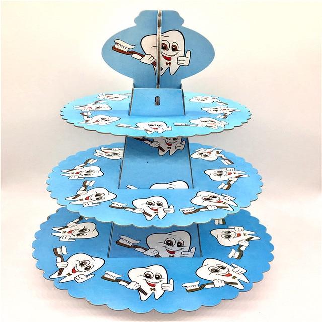 1set 3 Tier Baby Boy Kids Birthday Party Decoration Blue Teeth Cake
