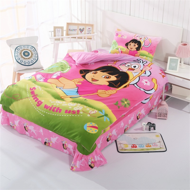 US $56.95 33% OFF|Cute Kids Dora Bedding Sets Duvet Cover Bed Sheets Twin  Full Size Bed Children Girls and Boys Bedroom Sets Cotton Textiles-in ...