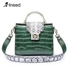 Alneed Genuine Leather Handbag Alligator Ladies Luxury Tote Women Serpentine Strip Shoulder Bag Designer Flap Top-handle Bag