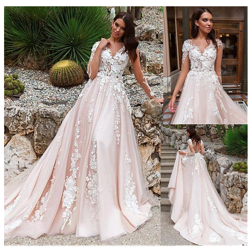 SoDigne Wedding Dresses Lace Applique 3/4 Long Sleeves Illusion Beach Wedding Dress Bridal Gowns Vestidos De Novia Pluse Size