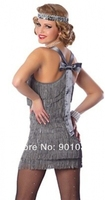 FREE SHIPPING Ladies 1920s Gatsby Roaring 20s Grey Flapper Chicago Gangster Charleston Costume