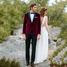 Burgundy Velvet Mens Classic Suits for Wedding Smoking Jacket Groom Tuxedo Best Man Blazers Bridegroom Wear 2piece Costume Homme