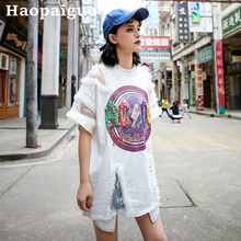 Lace Patchwork Harajuku Sequin Tshirt Women Hip Hop Causal Black T-shirt Cotton Print Letter ACOC Long Oversized T Shirt Ladies
