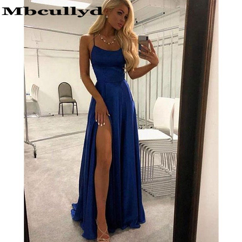 Mbcullyd Sexy Split Long Prom Dresses 2019 New Cross Back A-line Formal Evening Dress Cheap Sale Red Blue Green Vestido De Festa