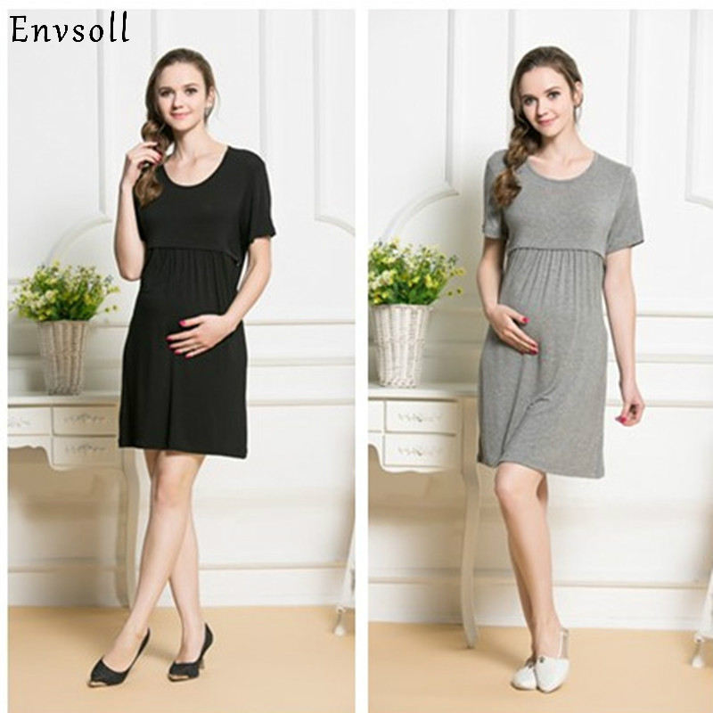 Envsoll 2018 New Maternity Nursing Dresses Breast Feeding Dress for Pregnant Women Pregnancy Clothes Breastfeeding Clothing
