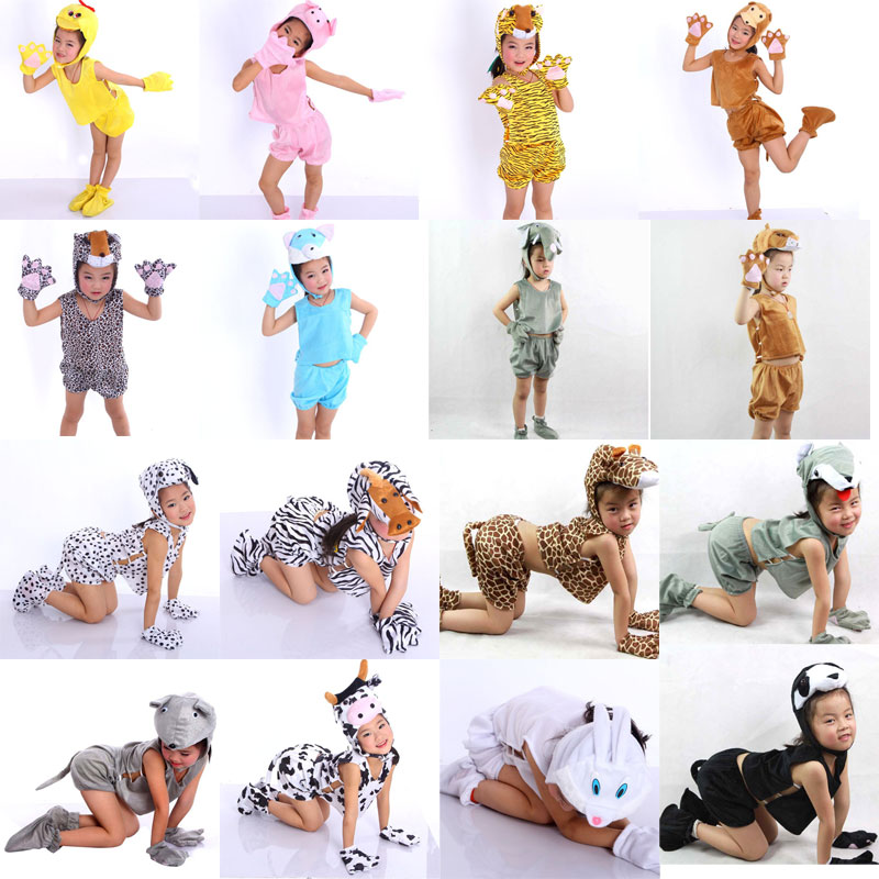 Umorden Summer Short 5PCS Set Cartoon Kids Børn Animal Costume Cosplay Halloween Børne Dags Kostumer til Boy Girl