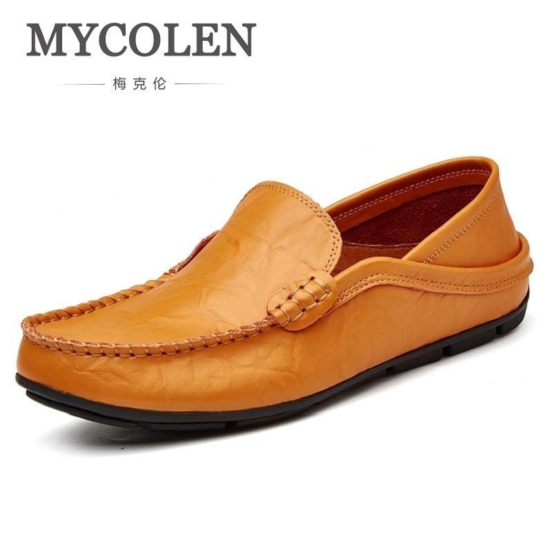 MYCOLEN New Style Fashion Solid Color Men Loafers Handmade Men Shoes Party And Wedding Brown Men'S Flat Mocassim Masculino handmade new solid maple wood brown acoustic violin violino 4 4 electric violin case bow included