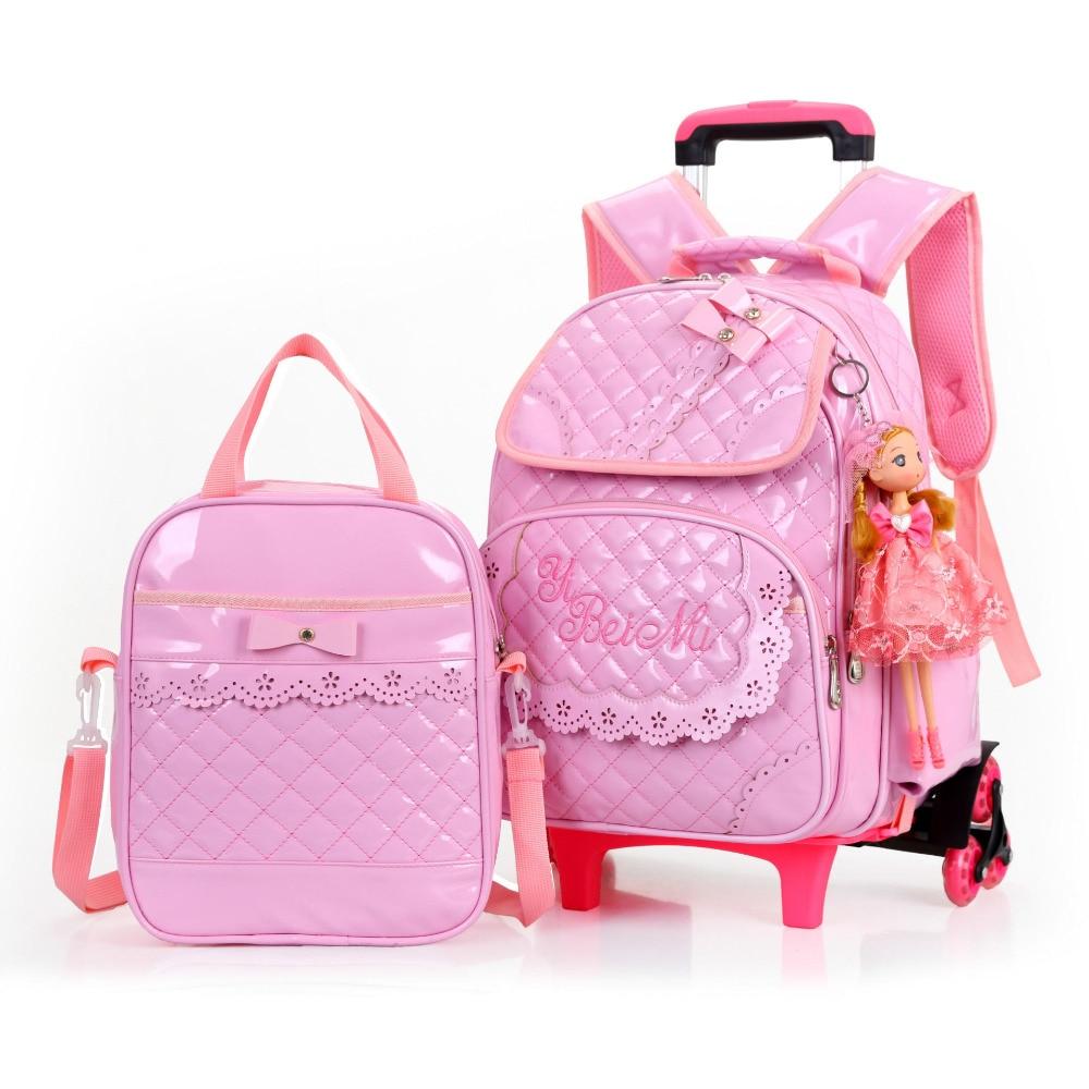 Venta caliente niñas princesa estilo 3 ruedas mochila escuela bolsa set 2019 nuevo impermeable PU cuero carretilla escuela bolso chica mochila