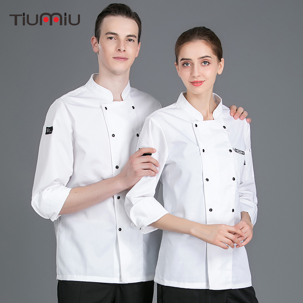 High Quality Chef Uniform Long Sleeve Chef Jackets Men Women Catering Hotel Waiter Uniform Overalls Restaurant Kitchen Uniforms