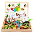 Multifuncional de madeira Crianças Brinquedo 3D Puzzle Desenho Negro Placa de Escrita Aprendizagem Educação Brinquedos Para Crianças brinquedo Magnético CU105