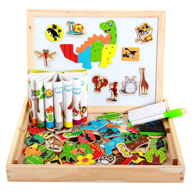 Wooden Multifunction Toy Children 3D Puzzle Writing Drawing Board Blackboard Learning Education Toys For Kids Magnetic toy CU105