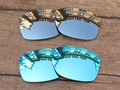 Chrome Silver & Blue 2 Pairs Mirror Polarized Replacement Lenses For Jupiter Squared Sunglasses Frame 100% UVA & UVB Protection