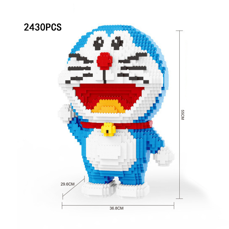 Lovely japan cartoon figures moc building block 55cm Doraemon assemable bricks model cat robot toys collection for gifts japanese anime figures doraemon 5pcs set car decoration japan comics doraemon garage kits doll toy