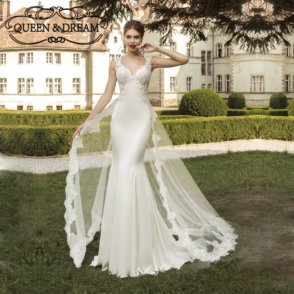 outside wedding dresses lace appliques satin tulle v neck detachable 6342