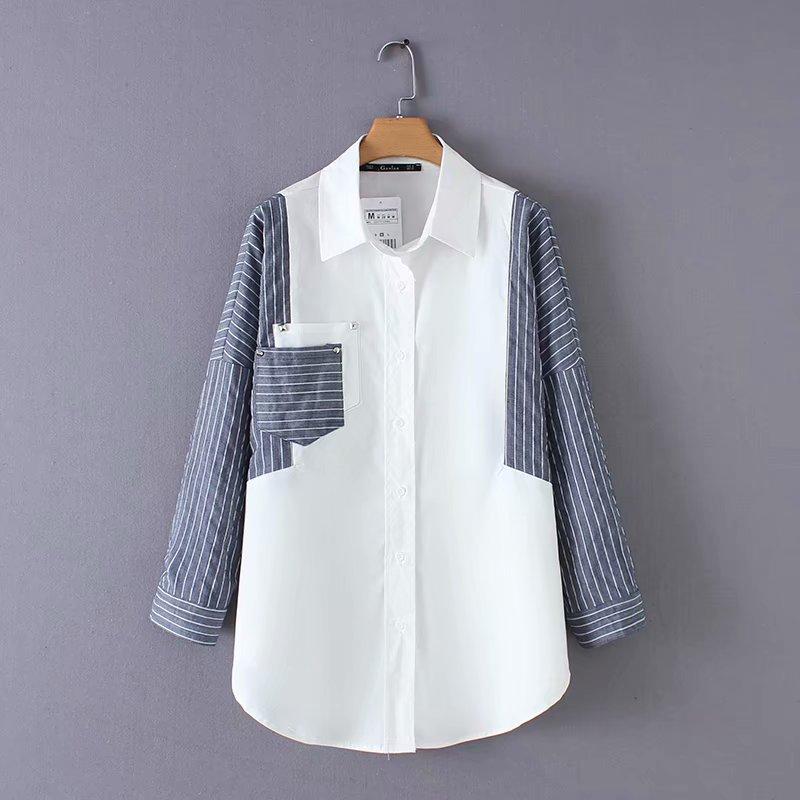 17bf1395bdf new women fashion striped patchwork casual slim blouse shirts women chic long  sleeve rivet blusas business
