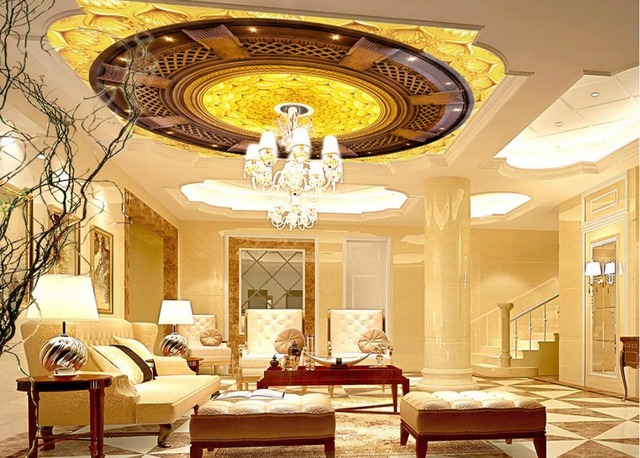 High End Golden Flowers Zenith Ceiling Home Decoration Cloud