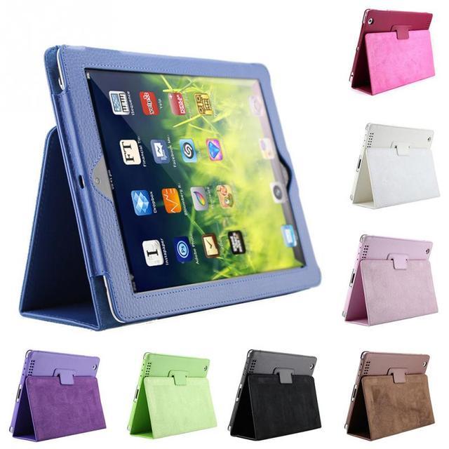 Para Apple Caso ipad 2 3 4 Auto Sleep/Wake Up Flip Litchi Capa de Couro PU Para Novo ipad 3 ipad 4 Inteligente Stand Titular caso