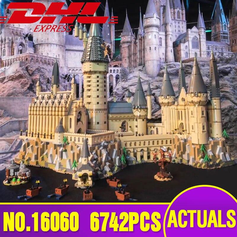 Lepin 16060 Harry Serie di Film Il Legoinglys 71043 Hogwarts Castello Set di Blocchi di Costruzione di Mattoni Modello di Casa di Giocattoli Di Natale