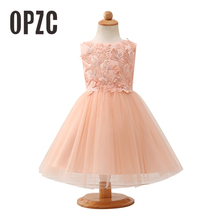 be204efeb7b3 2018 Orange Stereoscopic Flower Lace Flower Girl Dress Embroidery Tulle Gown  Peals Girls Pageant Party Dress