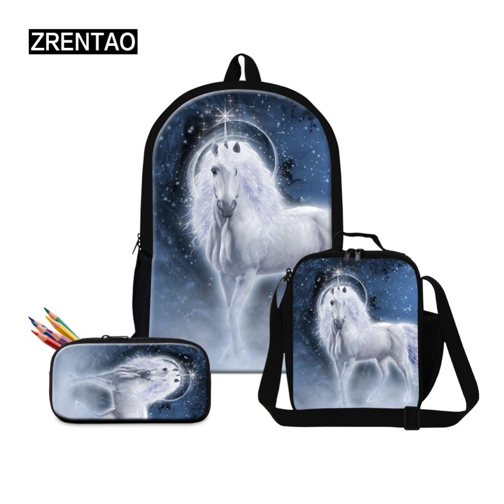ZRENTAO 3 PCS\set backpack with pencil pouch lunch coolers polyester double zipper mochilas unicorn print children school bags
