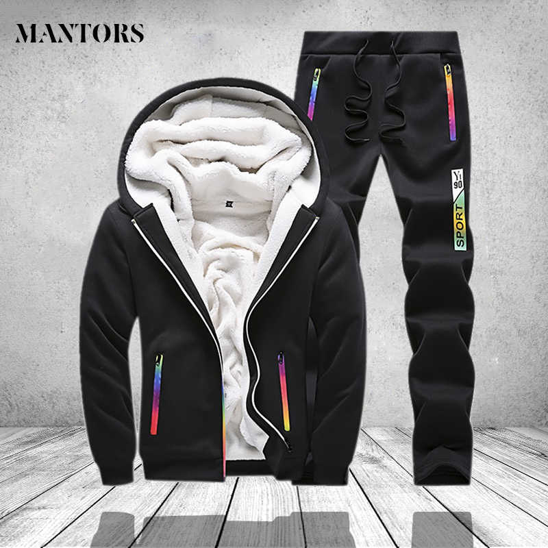 0e1968c1 Winter Tracksuit Men Set Sporting Two Pieces Sweatsuit Mens Clothes Printed Thick  Hooded Hoodies Jacket +