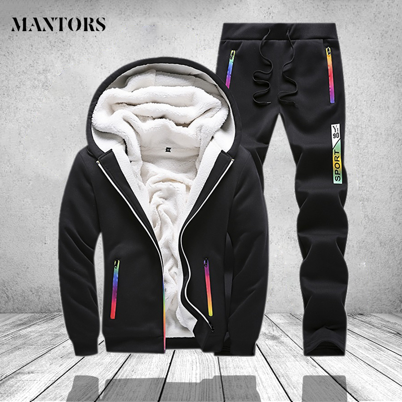 Winter Tracksuit Men Set Sporting Two Pieces Sweatsuit Mens Clothes Printed Thick Hooded Hoodies Jacket + Pants Track Suit Male