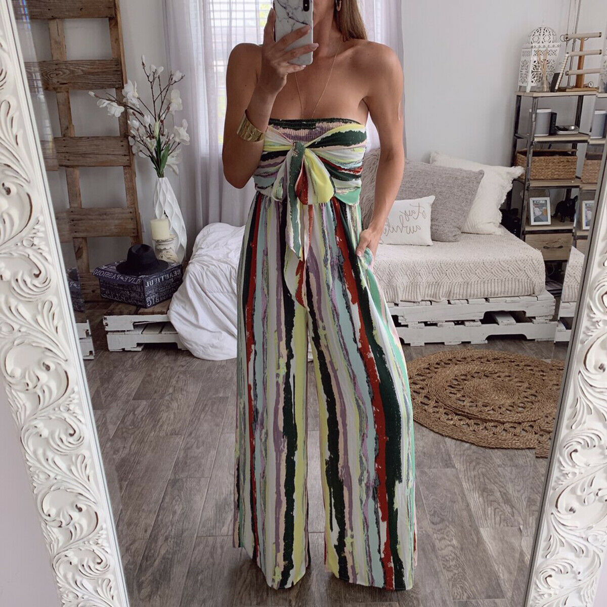Women Sexy Jumpsuit Striped Sleeveless Lace up Summer Beach Jumpsuit Holiday Femme Casual Evening Party Clubwear Cloches
